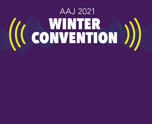 AAJ Winter Convention on purple background.