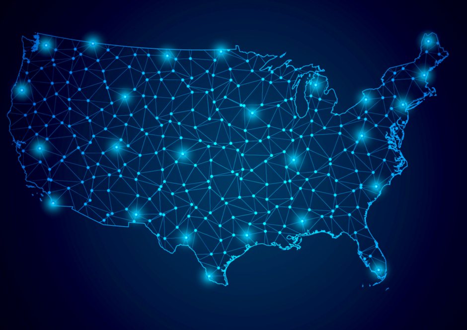 Blue outline of the map of United States with lights on cities